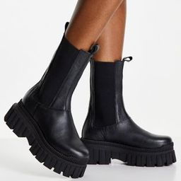 ASOS DESIGN Addison chunky leather chelsea boots in black | ASOS (Global)