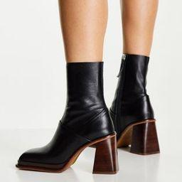 ASOS DESIGN Rochelle premium leather platform heeled boots in black   ASOS (Global)
