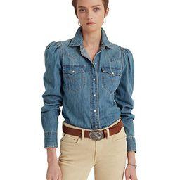 Lauren Ralph Lauren Denim Puffed Sleeve Top  & Reviews - Tops - Women - Macy's | Macys (US)