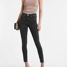Mid Rise Black Raw Hem Skinny Jeans | Express