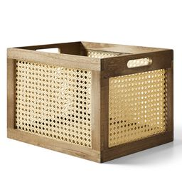 Better Homes & Gardens Large Wood and Poly Rattan Cane Weave Storage Crate | Walmart (US)