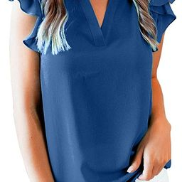 Happy Sailed Womens Summer Chiffon Tank Tops Loose Casual Ruffle Sleeveless Blouse Shirts(S-XXL) | Amazon (US)