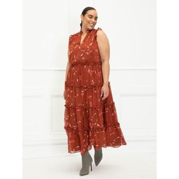 ELOQUII Elements Women's Plus Size Sleeveless Bohemian Print Ruffle Trim Dress | Walmart (US)