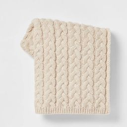 Solid Chunky Cable Knit Throw Blanket Neutral - Threshold™ | Target