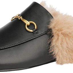 Arqa Mules for Women Women's Leather Slip On Fur Mule Backless Low Heel Loafers Slide Slippers   Amazon (US)