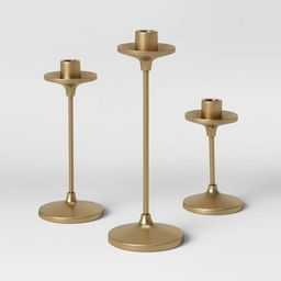 """11"""" x 4"""" Set of 3 Tapers Cast Aluminum Candle Holder with Brass Finish Gold - Threshold&#... 