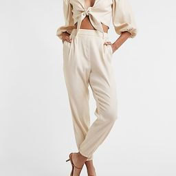 High Waisted Linen-Blend Pull-On Ankle Pant | Express