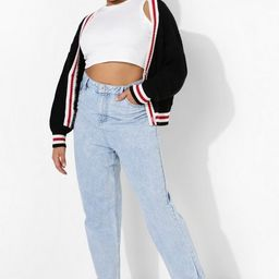 Plus Stripe Cable Knit Cardigan | Boohoo.com (US & CA)