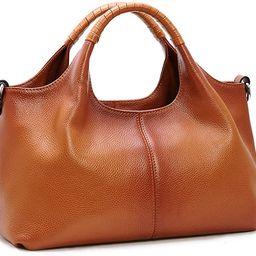 Iswee Womens Genuine Leather Handbags Tote Bag Shoulder Bag Top Handle Satchel Designer Ladies Pu... | Amazon (US)