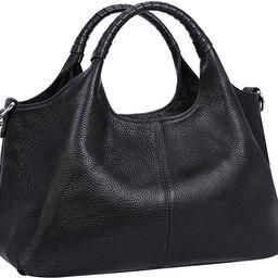 Iswee Womens Genuine Leather Handbags Tote Bag Shoulder Bag Top Handle Satchel Designer Ladies Purse | Amazon (US)