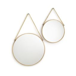 Set of 2 Uyova Round Mirrors in Brass or Black | La Redoute (UK)