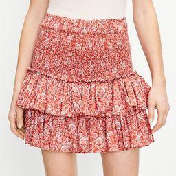 Palm Smocked Tiered Skirt | LOFT