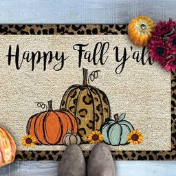 Happy Fall Y'all Doormat, Leopard Print Pumpkins Doormat, Thanksgiving Doormat, Fall Welcome Mat,... | Etsy (US)