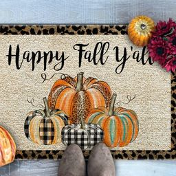 Happy Fall Y'all Doormat, Leopard Print Pumpkins Doormat, Fall Doormat, Fall Welcome Mat, Pumpkin... | Etsy (US)