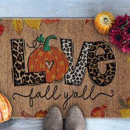 Love Fall Y'All Doormat, Leopard Print Pumpkin Doormat, Fall Vibes, Fall Welcome Mat, Fall Doorma... | Etsy (US)