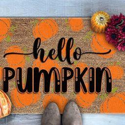 Hello Pumpkin Doormat, Pumpkin Welcome Mat, Fall Doormat, Fall Decor, Welcome Doormat, Cute Doorm... | Etsy (US)