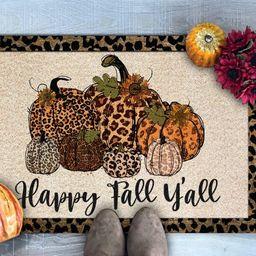 Happy Fall Y'all Doormat, Leopard Print Pumpkins Doormat, Fall Doormat, Fall Welcome Mat, Fall De... | Etsy (US)