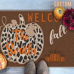 Welcome Fall Doormat, Leopard Print Pumpkin Doormat, Family Name Doormat, Fall Welcome Mat, Fall ... | Etsy (US)