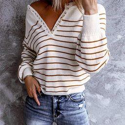 Womens Casual Henley Shirts V Neck Long Sleeve Knitwear Stripe Button Down Tops Warm Waffle Knit Tee   Amazon (US)