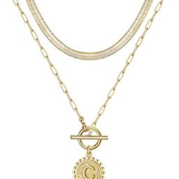 Gold Layered Initial Necklaces for Women, 14K Gold Filled Initial Coin Pendant Necklace Paperclip...   Amazon (US)