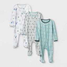 Baby Boys' 3pk Adventure Zip-Up Sleep N' Play - Cloud Island™ White/Gray/Mint | Target