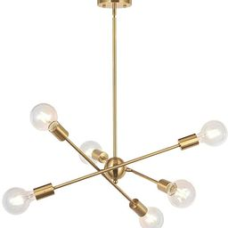 BONLICHT Modern Sputnik Chandelier Lighting 6 Lights Brushed Brass Chandelier Mid Century Pendant...   Amazon (US)