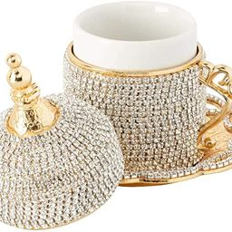 Demmex Turkish Coffee Espresso Cup with Inner Porcelain, Metal Holder, Saucer and Lid (Gold with ...   Amazon (US)