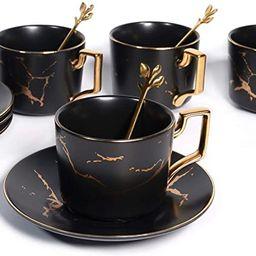 8.5 oz Golden Hand Print Tea Cup With Saucer Set And Cup And Ceramics Saucer Set Black (Set of 4)   Amazon (US)