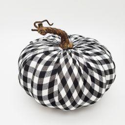 "Way to Celebrate Harvest Decorative Short Black & White Gingham Fabric Covered Pumpkin, 8"" X 6""   Walmart (US)"