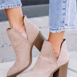 Take Your Chance Taupe Brown Heeled Booties | The Mint Julep Boutique