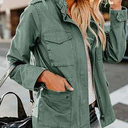 Womens Military Anorak Jacket Zip Up Snap Button Parka Safari Utility Coat Outwear with Pockets | Amazon (US)
