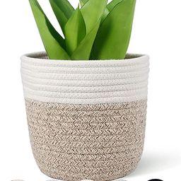 "Oradrem Cotton Rope Plant Basket Modern Woven Basket for 6"" Flower Pot Floor Indoor Planters,Rust...   Amazon (US)"