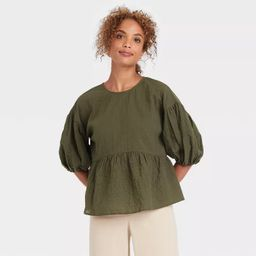 Women's Puff 3/4 Sleeve Top - A New Day™ | Target