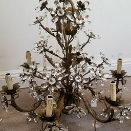 Vintage CHANDELIER Glass Crystal Flowers INCREDIBLE 6 Light 2004 Exceptional   eBay US