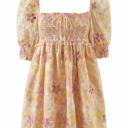 'Abby' Square Neck Floral Embroidered Mini Dress | Goodnight Macaroon