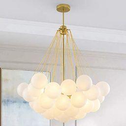 LITFAD Modern Stylish Bubble Ball Chandelier Ivory Glass 37 Lights LED Pendant Light Dining Room ...   Amazon (US)