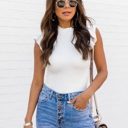 Stare Down The Past White Ruffle Sleeve Bodysuit | The Pink Lily Boutique