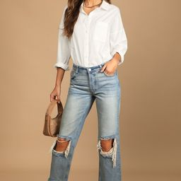 Maggie Faded Blue Distressed Mid Rise Straight Leg Cropped Jeans   Lulus (US)