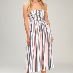 Lilah Multi Striped Pleated Midi Dress | Lulus (US)