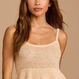 Pep You Up Beige Knit Peplum Sweater Tank | Lulus (US)
