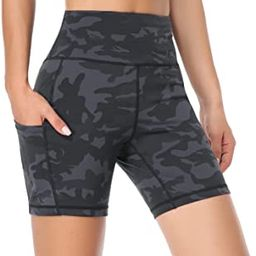 Amazon.com: DAYOUNG Women Yoga Shorts High Waist Tummy Control Workout Biker Running Athletic Com...   Amazon (US)