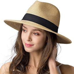 Womens Mens Wide Brim Straw Panama Hat Fedora Summer Beach Sun Hat UPF Straw Hat for Women   Amazon (US)
