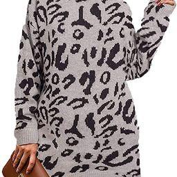 PRETTYGARDEN Women's Casual Leopard Print Long Sleeve Crew Neck Knitted Oversized Pullover Swea... | Amazon (US)