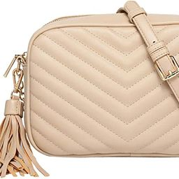 Daisy Rose Quilted Shoulder Cross body bag with tassel - PU Vegan Leather | Amazon (US)