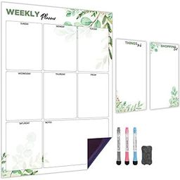 Weekly Magnetic Calendar for Refrigerator (Leaf)   Set of 3 Vertical Magnetic Dry Erase Board: Ma...   Amazon (US)