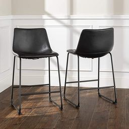 Walker Edison Douglas Urban Industrial Faux Leather Armless Counter Chairs, Set of 2, Black | Amazon (US)