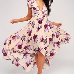 French Countryside Blush Floral Print High-Low Dress | Lulus (US)