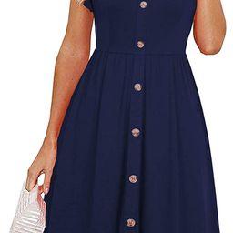 Lamilus Women's Summer Casual Ruffle Sleeve Button Down A-Line Swing Dress | Amazon (US)