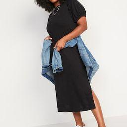 Puff-Sleeve Midi T-Shirt Shift Dress for Women   Old Navy (US)