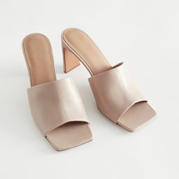 Heeled Leather Square Toe Sandals | & Other Stories